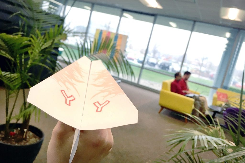 Slingshot office paper airplane Plane